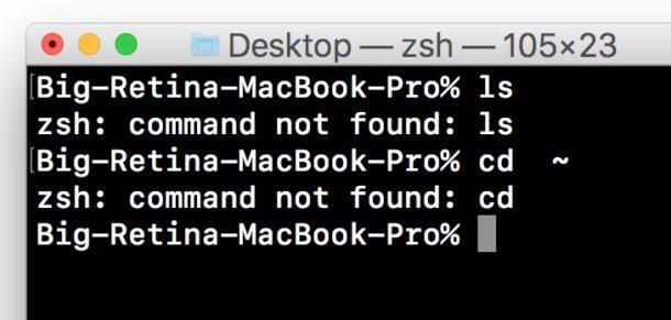 command not found Mac error terminal