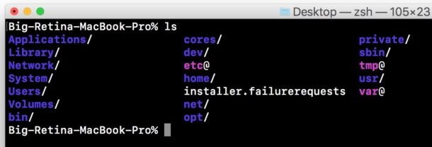 Command works in Mac terminal as expected