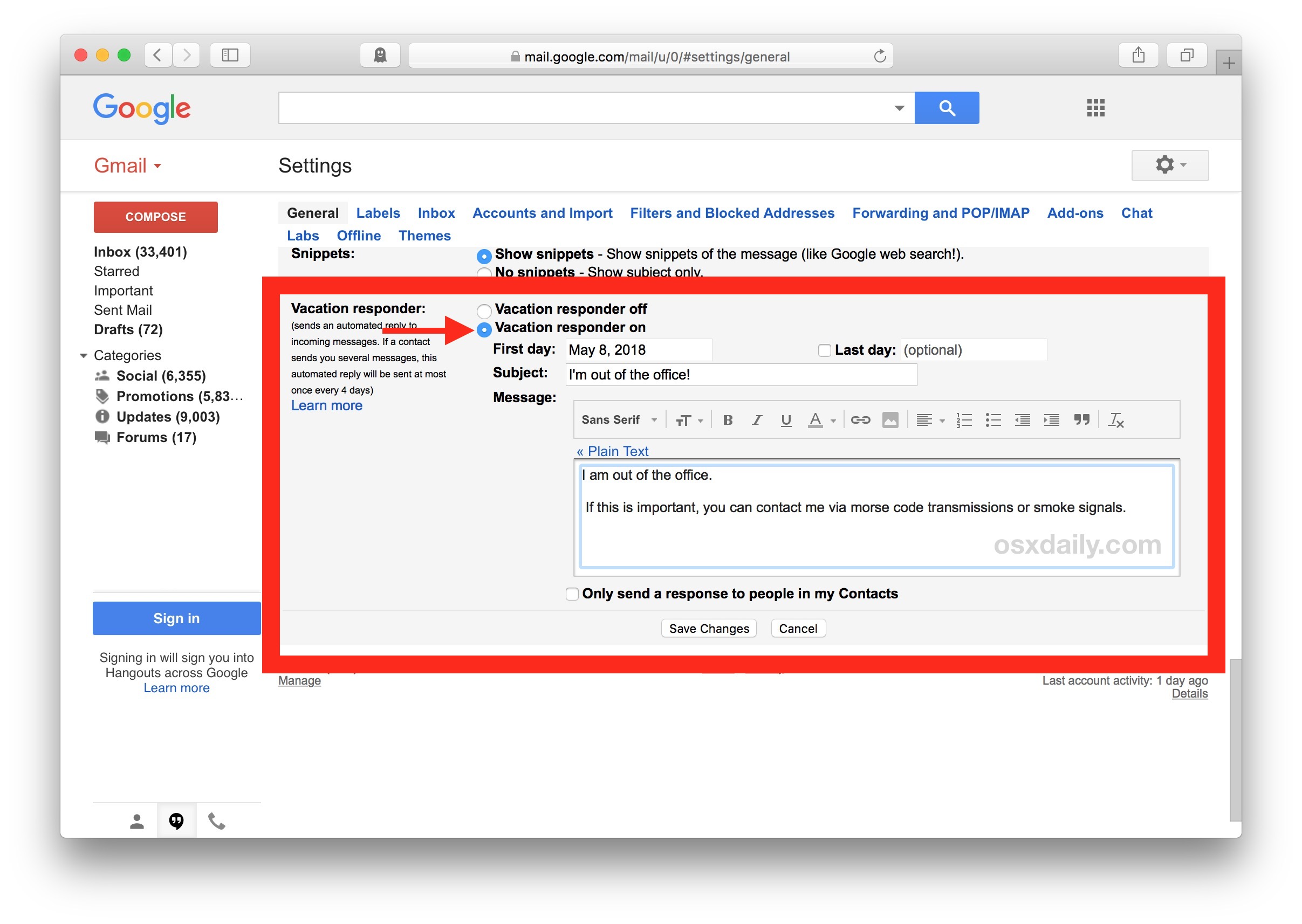 How to    set up an automatic out of office reply in Gmail