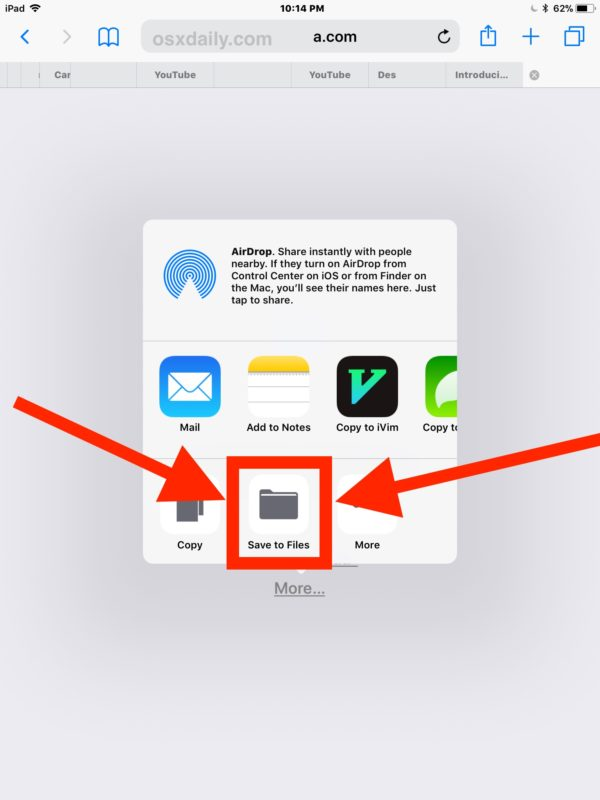 How to    save a zip file on the iPad