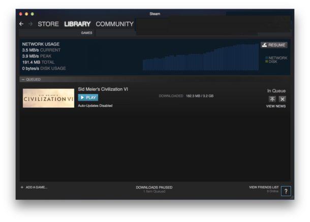 Steam game download progress