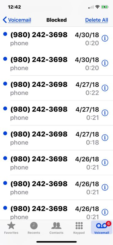 How to    see listen for and check blocked voicemail messages on iPhone