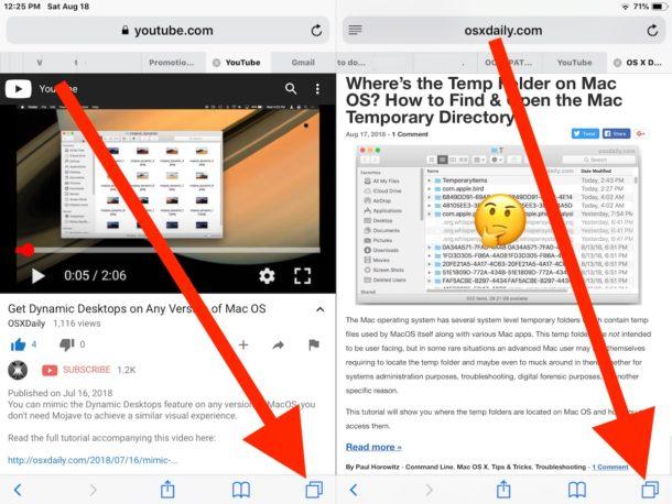 How to    close Safari Split Screen on iPad