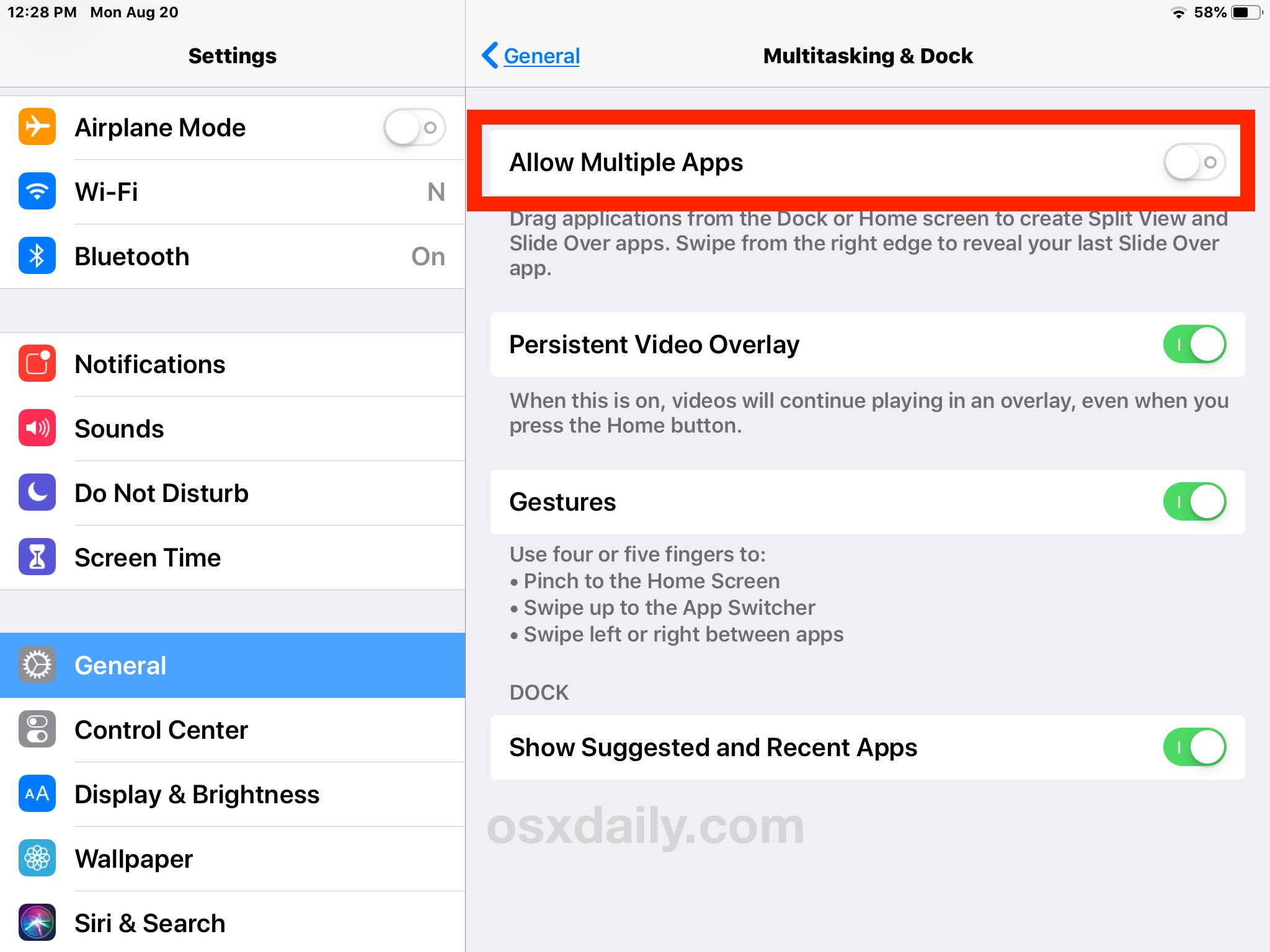 Disable split screen iPad apps in iOS