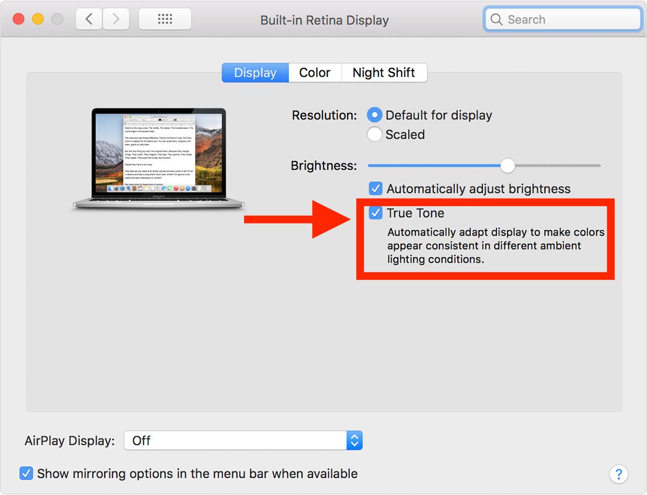 Disable True Tone on Mac display
