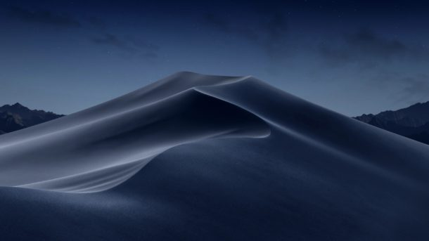 Dark desktop image of Mojave desert dunes when Dynamic and in the middle of the night