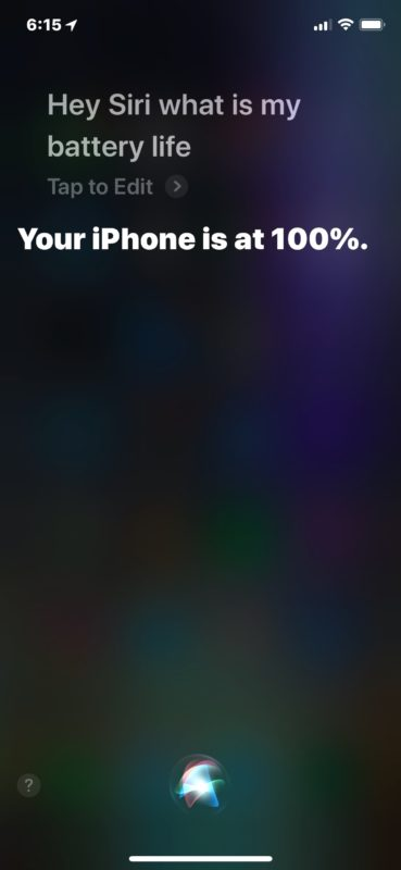 Get remaining battery life from Siri on iPhone