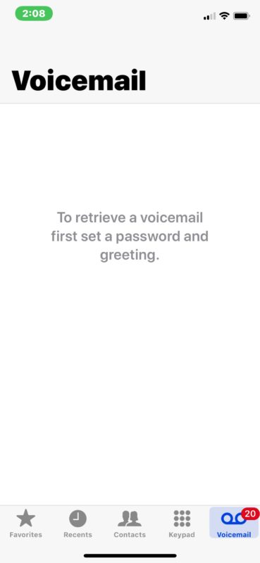 Voicemail error with password and greeting on iPhone