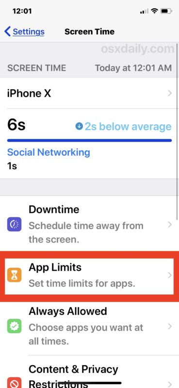 Select App Limits to limit time usage for apps in iOS