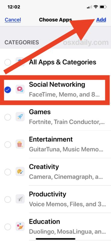 Choose Social Networking to set a time limit for iOS screen time