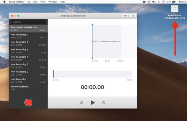 Voice memos file saved as audio file on Mac