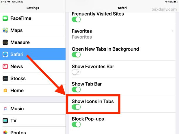 How to    show website favorite icons in Safari for iPhone or iPad