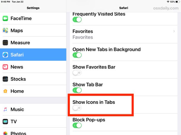 How to    turn off the display of the website favicon in Safari for iPad and iPhone