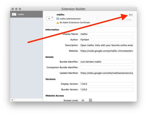 How to    bypass Safari unsafe extension error warning message dialog box on Mac