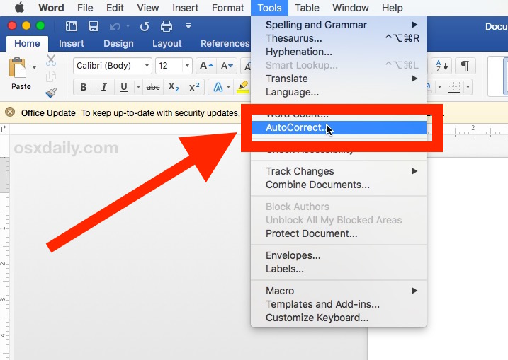How to    turn off auto-correct in Microsoft Word for Mac