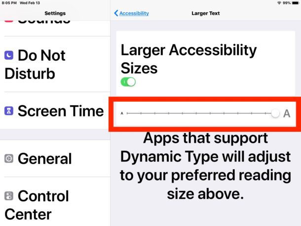 If necessary, adjust a larger text size on the iPad
