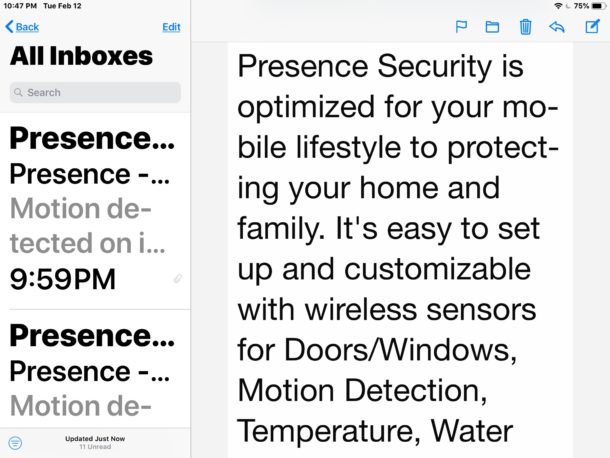 Large fonts in Mail for iPad