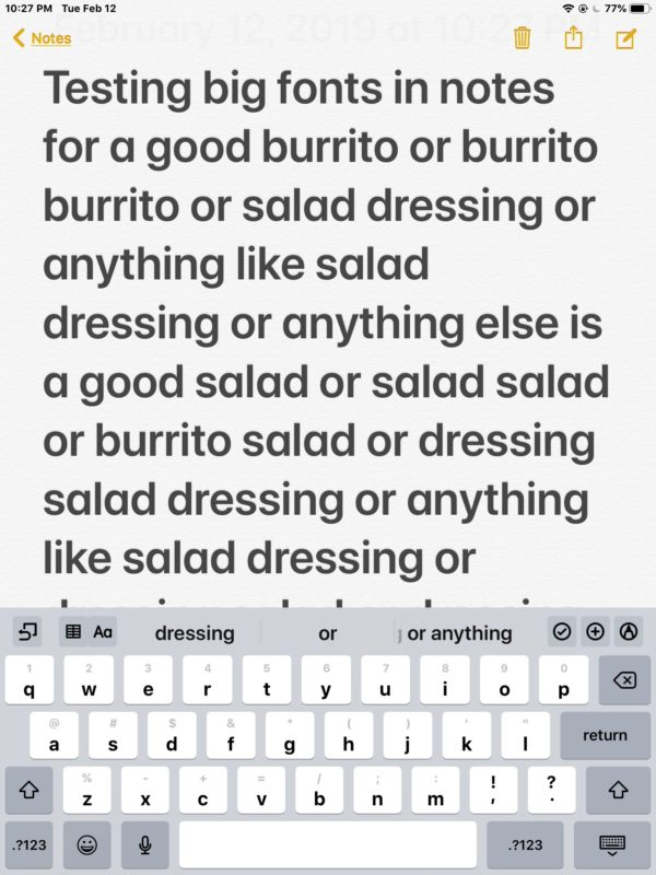 Larger fonts in the Notes app for iPad