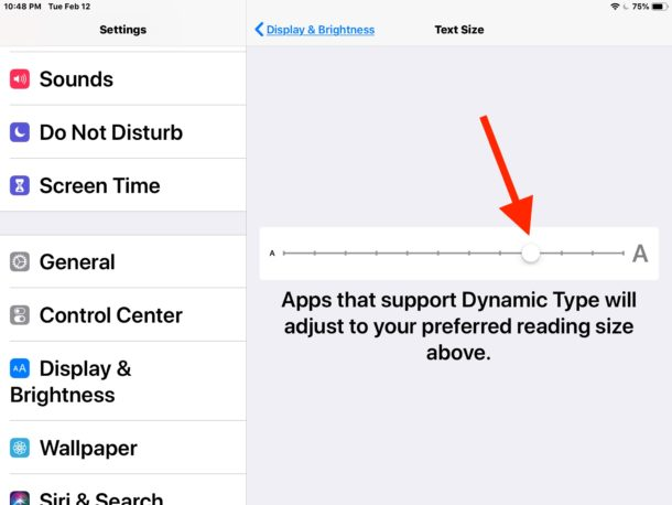 Adjust text size on iPad in Display and brightness settings