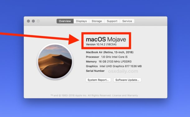 Find out which Mac OS version is running and installed on a Mac
