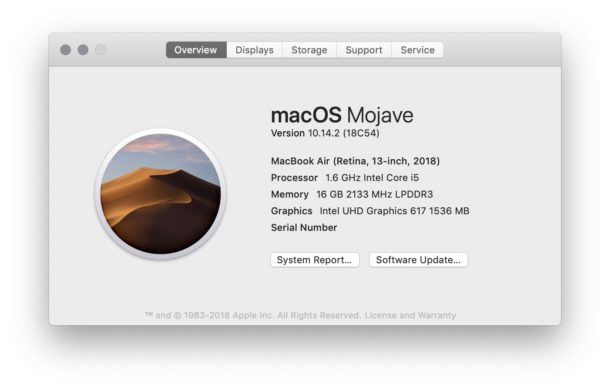 Find out which Mac OS version is running on a Mac