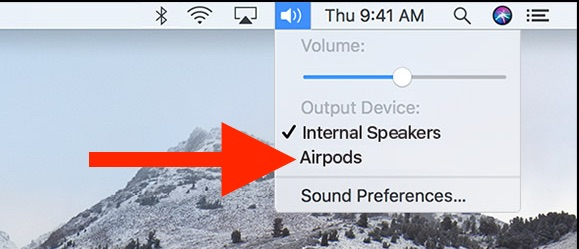 Connect AirPods to Mac the easy way from the Sound menu