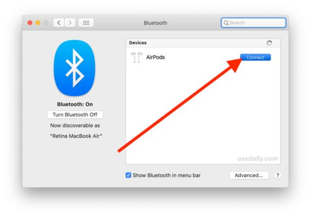 Connect AirPods to Mac via Bluetooth