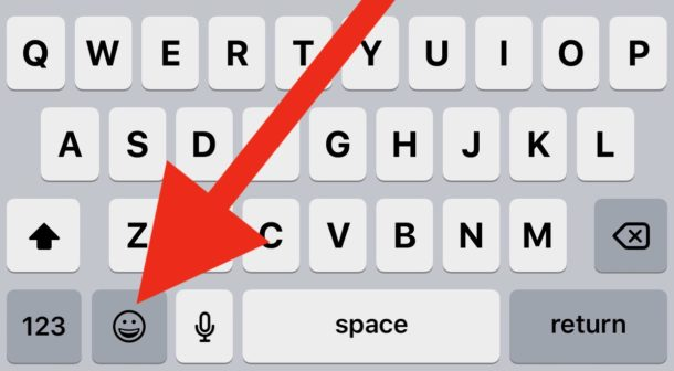 The Emoji button on iPhone or iPad keyboard