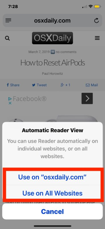 How to    enable Safari Automatic Reader mode in iOS
