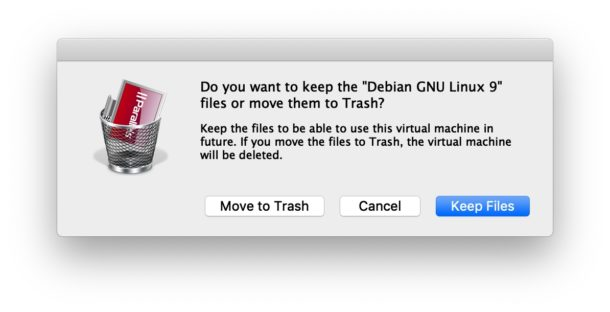 Delete the virtual machine in Parallels