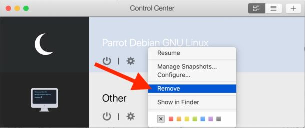 Remove a virtual machine from Parallels by right-clicking