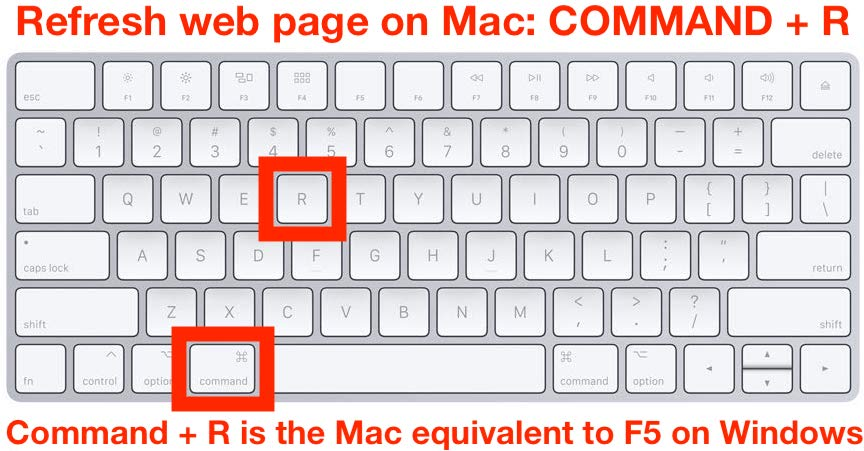 How to    refresh webpage on Mac with F5 equivalent Command R