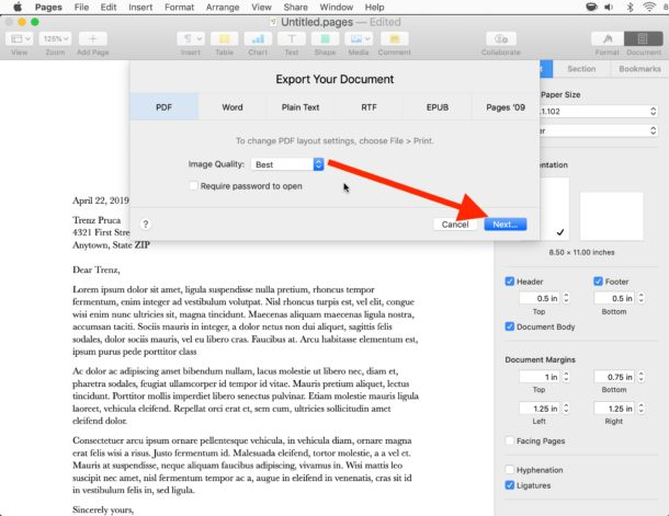 How to    save a Pages file as a PDF on Mac