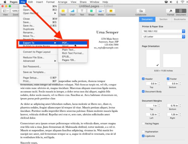 How to    convert a Pages file to PDF on Mac
