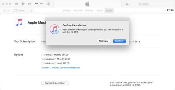 How to    Cancel the Apple Music subscription through iTunes