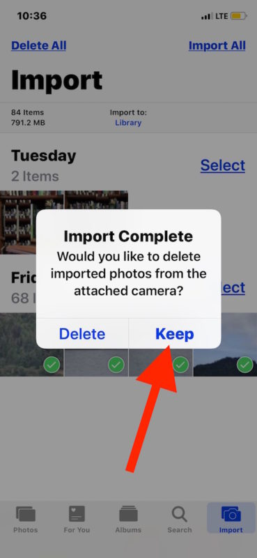 Choose to keep or delete the photos from SD card