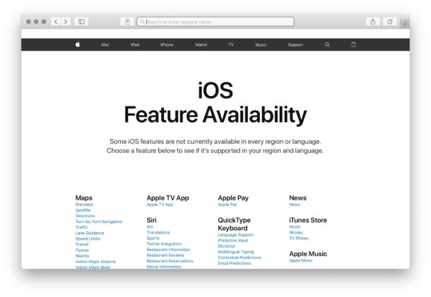 Check iOS feature availability per country