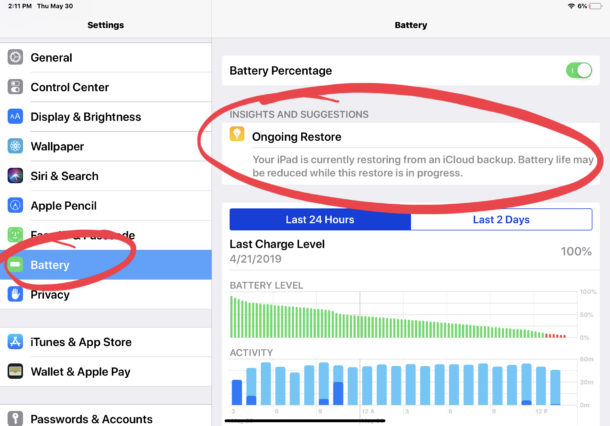 Continuously Restore battery life on iPad