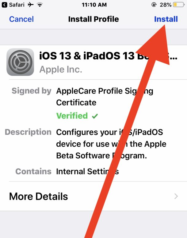 Install the iOS 13 public beta configuration profile
