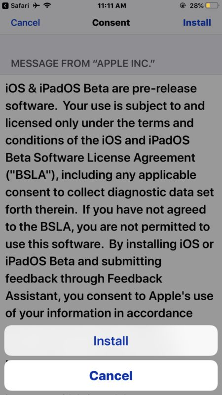 Agree to the iOS 13 beta license terms to install the profile