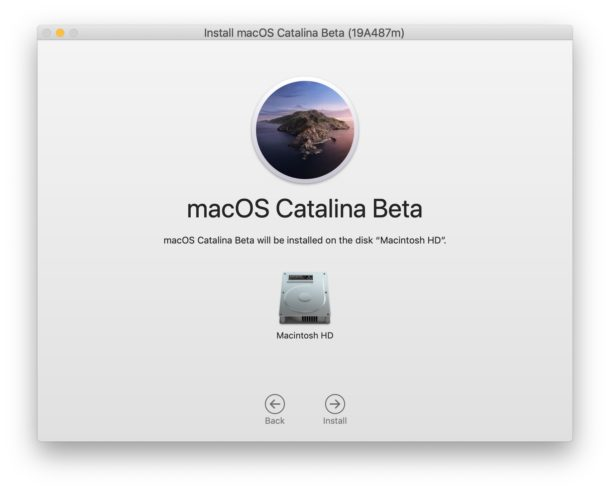 Choose a disk to install MacOS Catalina on