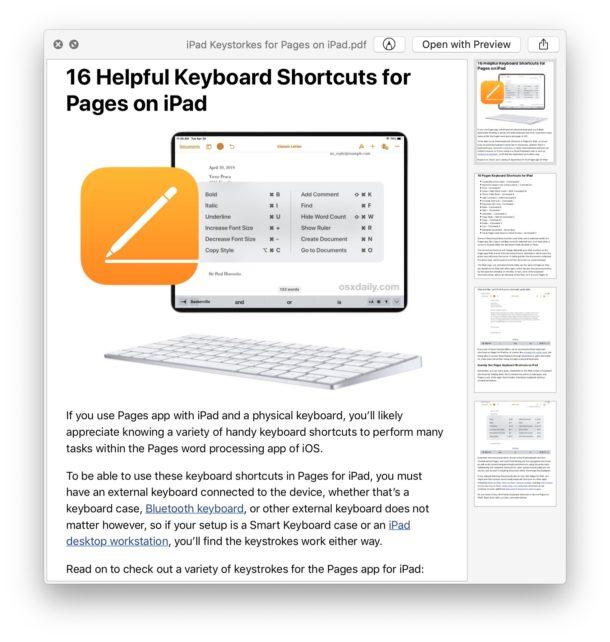 Sample web page saved as PDF file from Safari on Mac