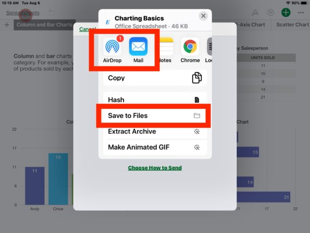 How to    saved converted Numbers files in Excel on iPad or iPhone