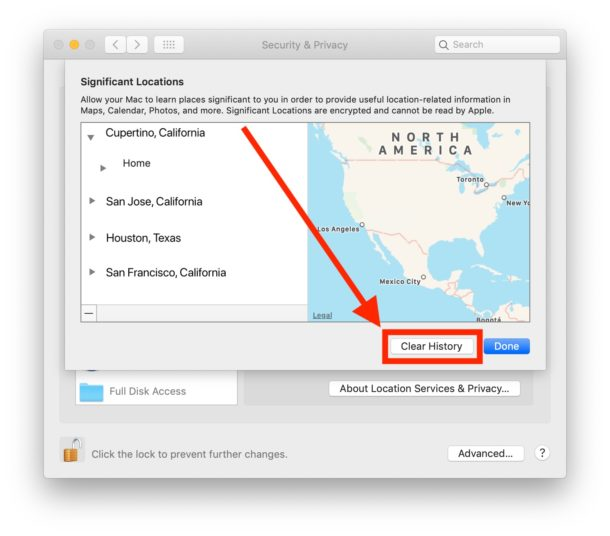 How to    clear and disable clear locations on Mac
