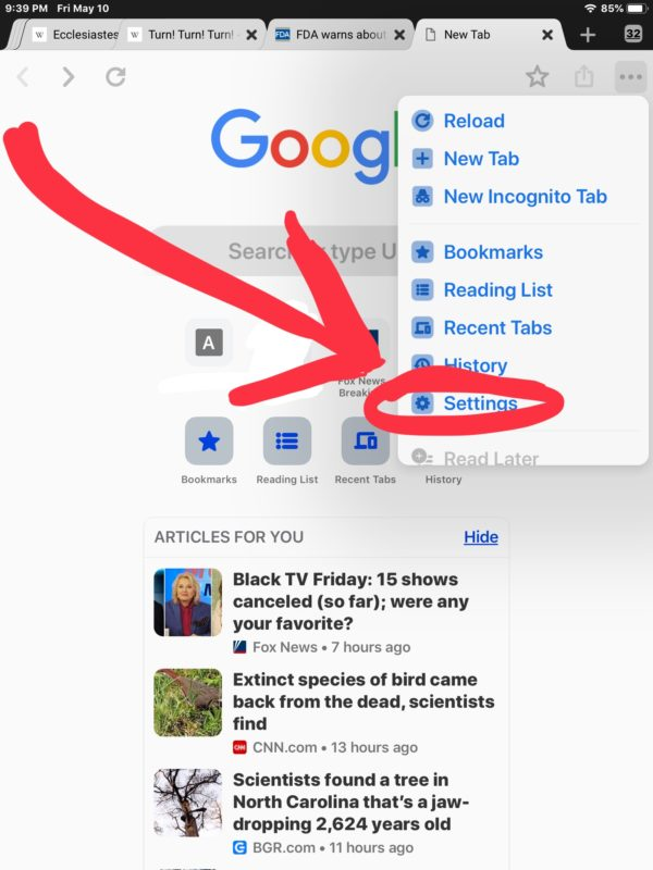 How to    delete articles suggested by Chrome for you in iOS