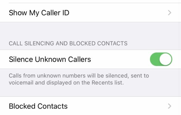 Silence unknown callers on iPhone