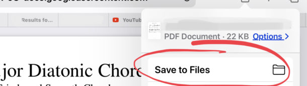 Save files from Safari to iPad