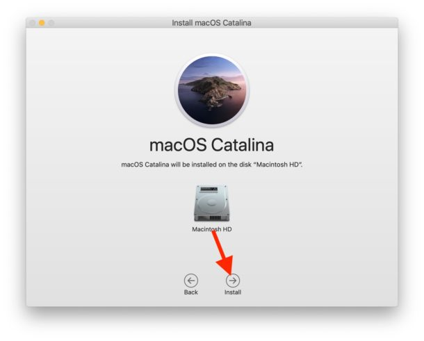 Select the target hard drive for MacOS Catalina and install