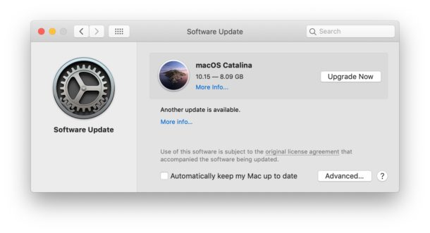 MacOS Catalina shown as an available upgrade