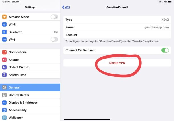 How to    delete a VPN on iPhone or iPad